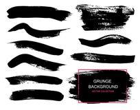Wielcy grunge elementy ustawiający Muśnięć uderzenia, sztandary, granicy, bryzgają splatters również zwrócić corel ilustracji wek ilustracja wektor