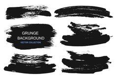Wielcy grunge elementy ustawiający Muśnięć uderzenia, sztandary, granicy, bryzgają splatters również zwrócić corel ilustracji wek royalty ilustracja