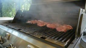 Wielcy mięśni stki piec na siatce benzynowy grill Mały dymu komes od naczynia BBQ na profesjonaliście zbiory wideo