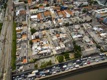 Wielcy miasta, wielkie aleje, domy i budynki, Lekki gromadzki Bairro da Luz, Sao Paulo Brazylia, poręcz i subw, fotografia royalty free