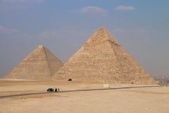 Wielcy ostrosłupy Gizah w Kair, Egipt Fotografia Stock