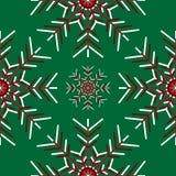 Wielcy płatki śniegu na zielonym tle Zdjęcie Stock