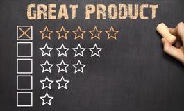 Wielcy pięć produktu złote gwiazdy chalkboard Obrazy Royalty Free