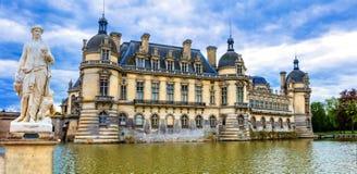 Wielcy piękni kasztele Francja górska chata de Chantilly fotografia royalty free