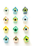 Wiele birdhouses mały tło Zdjęcie Stock