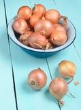 Wiele cebule w pucharze na barwiącym drewnianym stole zdjęcie stock