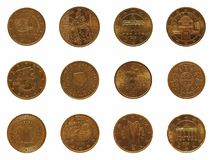 Wiele 20 cent menniczy, Europejski zjednoczenie Obrazy Royalty Free