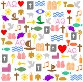 Wiele chrześcijańscy symbole w obciosują ramę ilustracja wektor