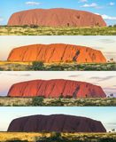 Wiele cienie Ayers skała, Uluru, Środkowy Australia obraz stock