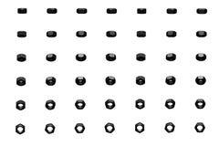 Wiele czarne dokrętki wirowali różnymi kątami odizolowywającymi na bielu - piękna przemysłowa 3D ilustracja, pic dla projektanta  royalty ilustracja