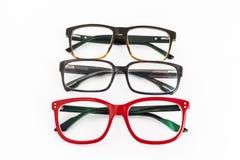 Wiele czerwieni i czerni eyeglasses Zdjęcia Stock