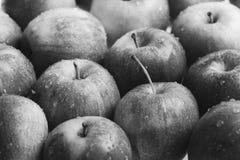 Wiele czerwoni jabłka, świeżej owoc tło w rynku Obraz Royalty Free