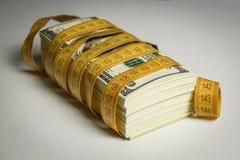 Wiele dolarowi rachunki wiążący z metrem obraz stock