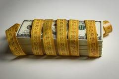 Wiele dolary wiążący z metrem zdjęcie stock