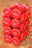 wiele dumbbells kilo jeden czerwony target3927_0_ Zdjęcie Stock