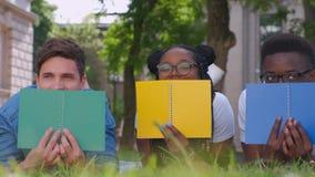 Wiele etniczni ucznie w miasto parku kłamać na trawie z notatnikami zbiory wideo