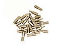 Wiele głów porady od metalu dogodnego szybkiego sposobu odmienianie śrubokręty dla różnych śrub i śrub na białym tle zdjęcia stock