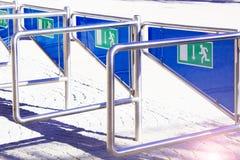 Wiele hasłowi signats wejście stadium, filharmonia Zamykający up sunlight Obraz Stock