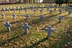 Wiele identyczna szarość krzyżuje w połysku wojskowego cmentarzu jesień i zmierzch życie walka dla congregation i niezależności zdjęcie stock