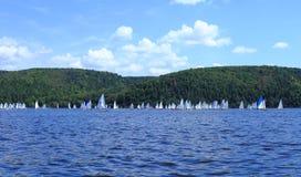 wiele jachty z białymi żaglami na pierwsze miejsce mistrzostwie Zdjęcia Royalty Free