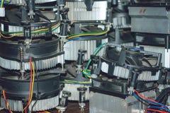 Wiele jednostek centralnych chłodnicy kaloryferowe Miedziani heatpipes i grzejnik dla komputeru procesoru Chłodniczy system PECET zdjęcia royalty free
