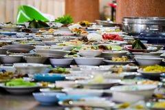 Wiele karmowi zbiorniki umieszczali dla jeść fotografia royalty free