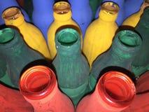 Wiele kolor butelki Zdjęcia Stock