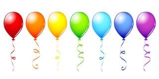 Wiele kolorowi balony w tęcza kolorach ilustracja wektor
