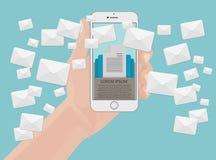 Wiele kopert wiadomości od smartphone ekranu w ręce Emaila marketingowy pojęcie Trzymać telefon ilustracja wektor