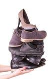 wiele mężczyzna jeden s obuwiana butów kobieta Zdjęcia Stock