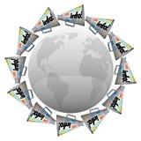 Wiele megafonów megafony Wokoło Światowej Globalnej Ewidencyjnej komunikaci ilustracja wektor