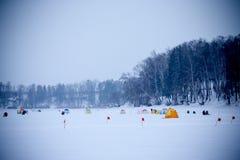 Wiele namioty na śnieżystym polu blisko lasu i flaga Zdjęcia Stock