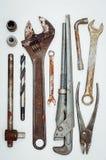 Wiele narzędzia na białym tle Zdjęcie Stock