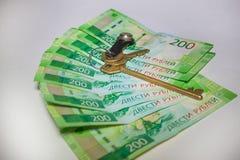 Wiele nowi banknoty dwieście Rosyjskich rubli zdjęcia stock