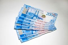 Wiele nowi banknoty są dwa tysiące Rosyjskimi rublami obraz royalty free