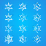 Wiele płatków śniegu ikony różna kolekcja ilustracja wektor