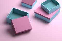 Wiele pakuje pudełka w błękicie i menchia kolorach dla egzaminu próbnego w górę lub prezentacji royalty ilustracja