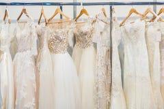 Wiele piękne ślubne suknie Zdjęcie Royalty Free