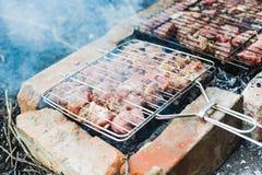 Wiele pieczeni mięso kawałki na grillu zdjęcia royalty free