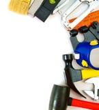 Wiele pracujący narzędzia zszywacz, cążki i inny -, dalej Fotografia Stock