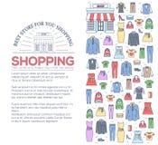 Wiele przedmiot nabywający w sklepie Zakupy tła abstrakcjonistyczny pojęcie W mieszkanie linii konturu stylu cienkich ikonach z ilustracji