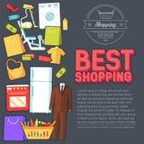 Wiele przedmiot nabywający w sklepie Zakupy tła abstrakcjonistyczny pojęcie W płaskich majcheru stylu ikonach z etykietka projekt ilustracji