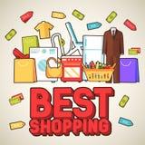 Wiele przedmiot nabywający w sklepie Zakupy tła abstrakcjonistyczny pojęcie W płaskich majcheru stylu ikonach z sklepową etykietk ilustracji