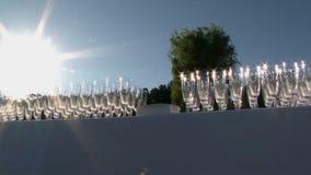 Wiele puści szkła dla szampańskiego świecenia w słońcu zbiory