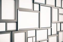 Wiele puste brown drewniane obrazek ramy na ścianie, wyśmiewają up, 3D ilustracji