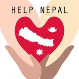 Wiele ras ręki współpracują pomagać Nepal od trzęsienia ziemi disaste ilustracji