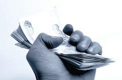 Wiele ruble w ręce fotografia stock