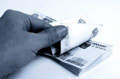 Wiele ruble w ręce obraz royalty free