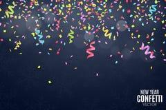Wiele spada stubarwni faborki na zmroku i confetti - błękitny tło Uroczysty tło na urodziny Nowy Rok i snowfla ilustracja wektor