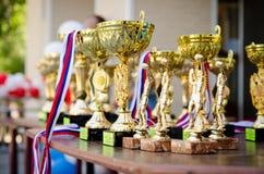 Wiele sportów medale na stole przed nagradzać atlety i filiżanki fotografia stock